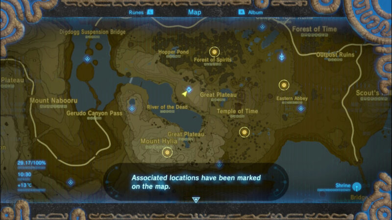 Map from The Legend of Zelda: Breath of the Wild