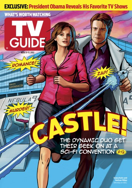 TV Guide cover featuring illustration of Nathan Fillion and Stana Katic