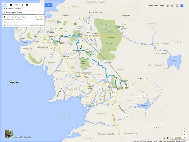 Google Map of walking route from the Shire to Mordor