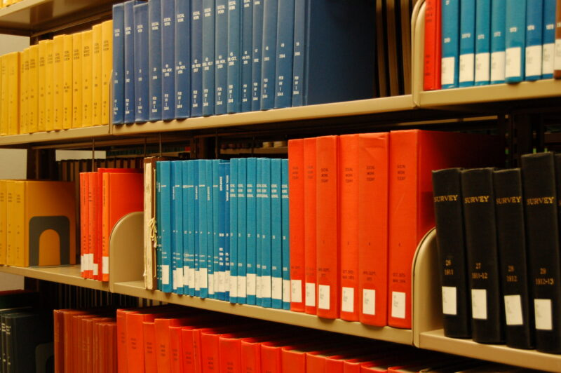 Shelf of bound periodicals in a library